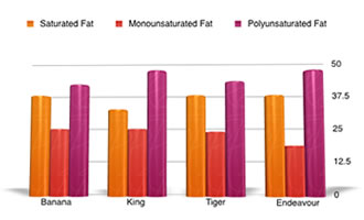 Prawn nutrition graph - comparing fats