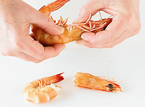 How to peel a prawn - step 1