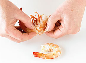How to peel a prawn - step 2
